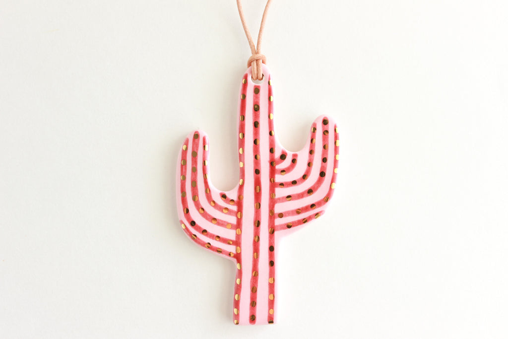 NEW! Pink/Burgundy Colorblock Stripe Cactus Ornament