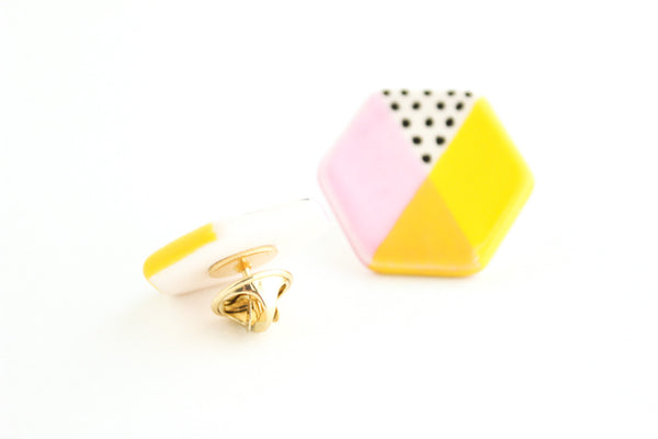 Color Block Hexagon Pin