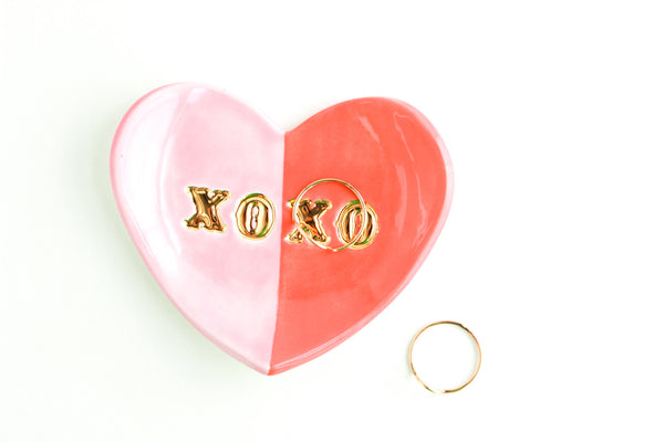 Color Block XOXO Heart Ring Dish