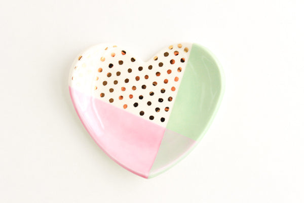 Color Block Dot Heart Ring Dish