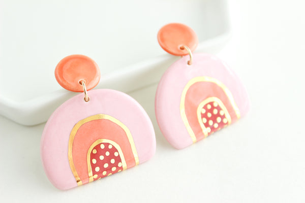 NEW! Tri-Color Bottom Patterned Half Circle Statement Earrings