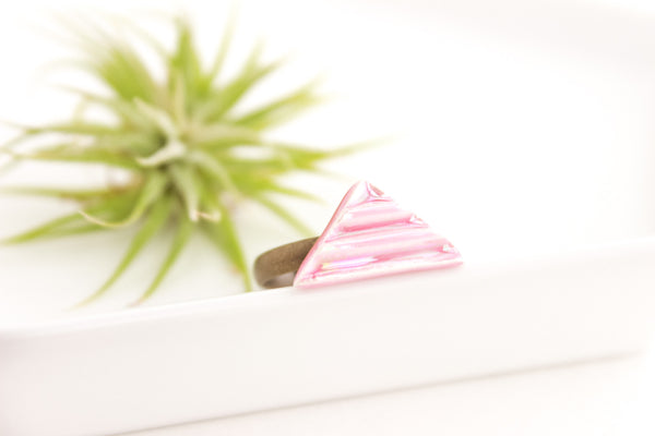 Pink Pearl Triangle Ring