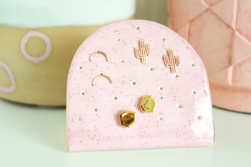 NEW! Light Pink Speckle Half Circle Earring Holder