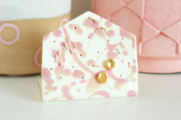 NEW! Pink Splash Hexagon Earring Holder