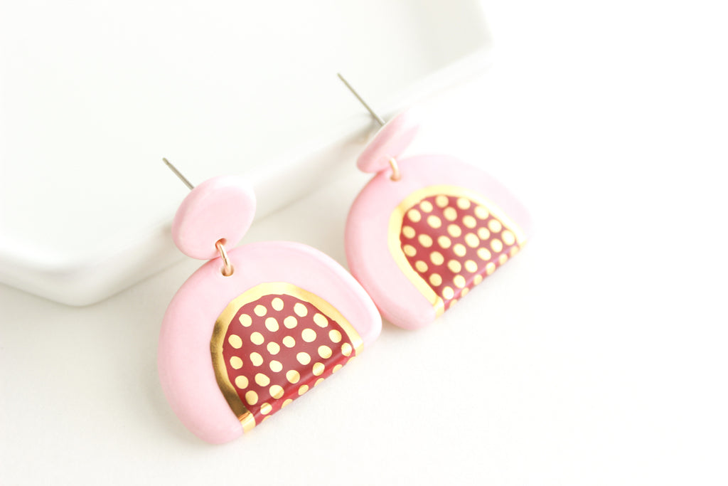 Pink/Burgundy Bottom Patterned Half Circle Statement Earrings