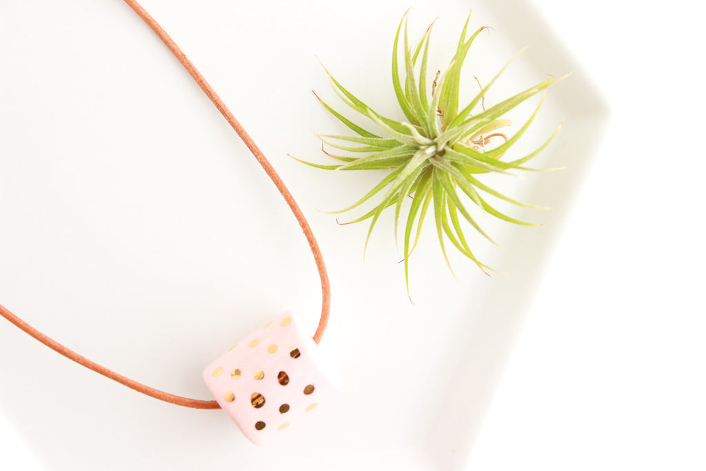 Pink and Gold Dot Beaded Necklace