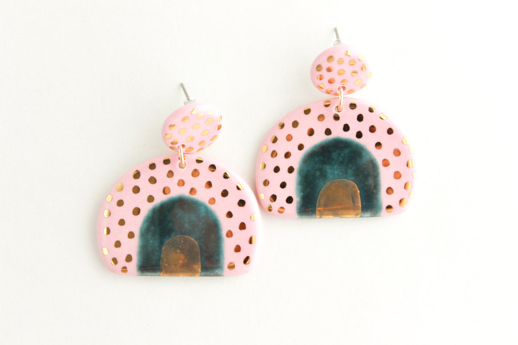 NEW! Tri-Color Top Patterned Half Circle Statement Earrings