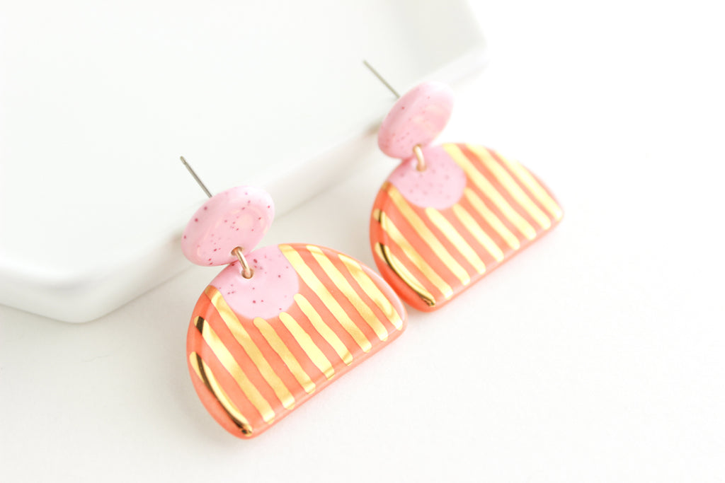 Pink Speckle/Orange Half Circle Statement Earrings with Gold Stripes
