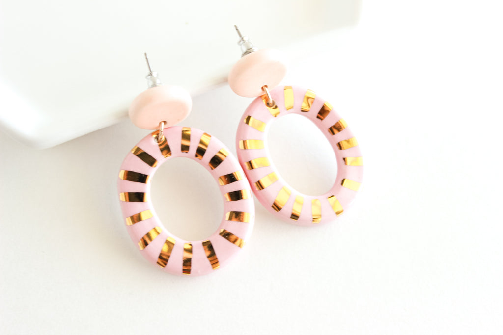 Orange/Pink Sunburst Oval Cutout Statement Earrings