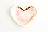Pink Splash Heart Ring Dish with Gold Outline