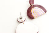 Purple and Gold Rainbow Stripe Half Circle Statement Earrings