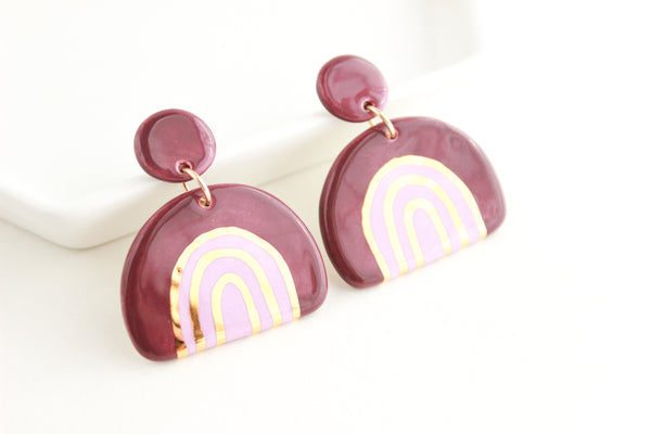 NEW! Purple and Gold Rainbow Stripe Half Circle Statement Earrings