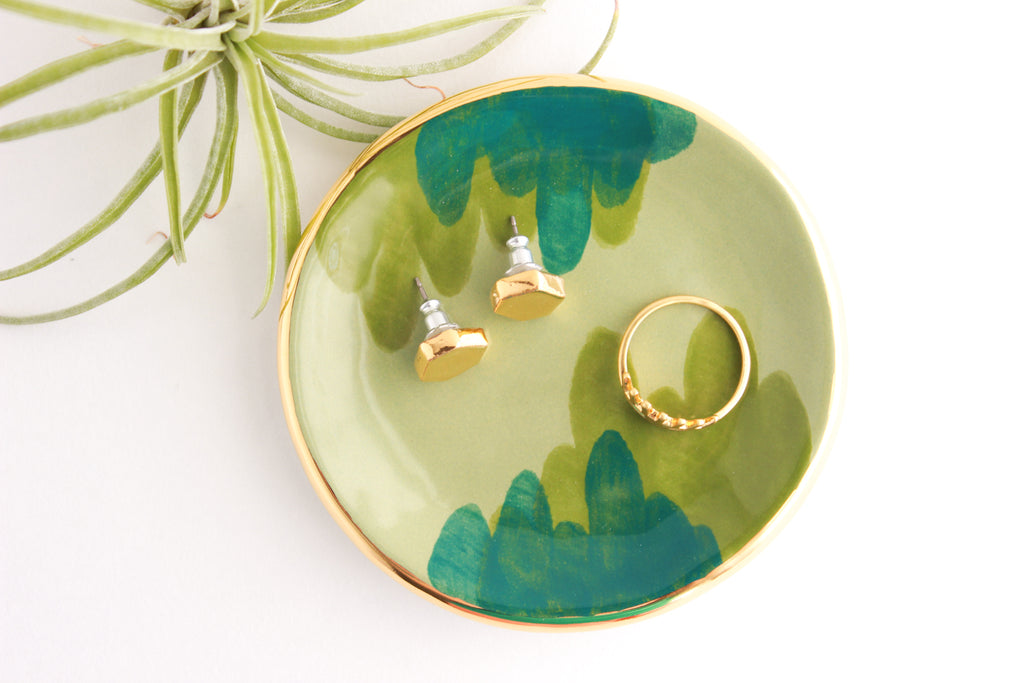 NEW! Green Abstract Ring Dish with Gold Rim