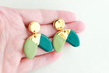 Sage/Teal Half Circle Statement Earrings with Triangle Cutout