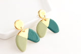 NEW! Sage/Teal Half Circle Statement Earrings with Triangle Cutout