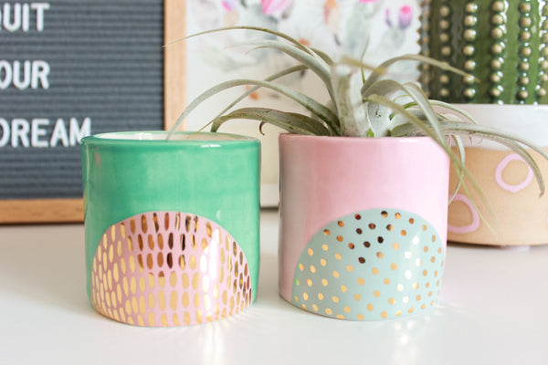 Gold Patterned Half Circle Mini Planter