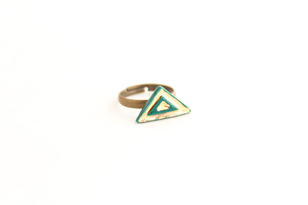 SALE! Teal and Gold Triangle Ring