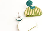 NEW! Teal Speckle/Olive Half Circle Statement Earrings with Gold Stripes