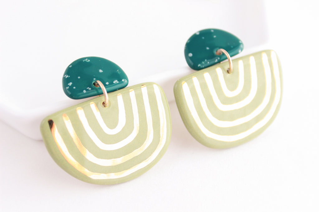 Teal Speckle and Sage U Shape Statement Earrings