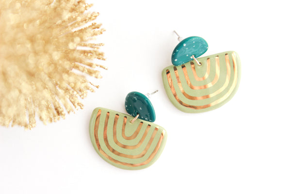 NEW! Teal Speckle and Sage U Shape Statement Earrings