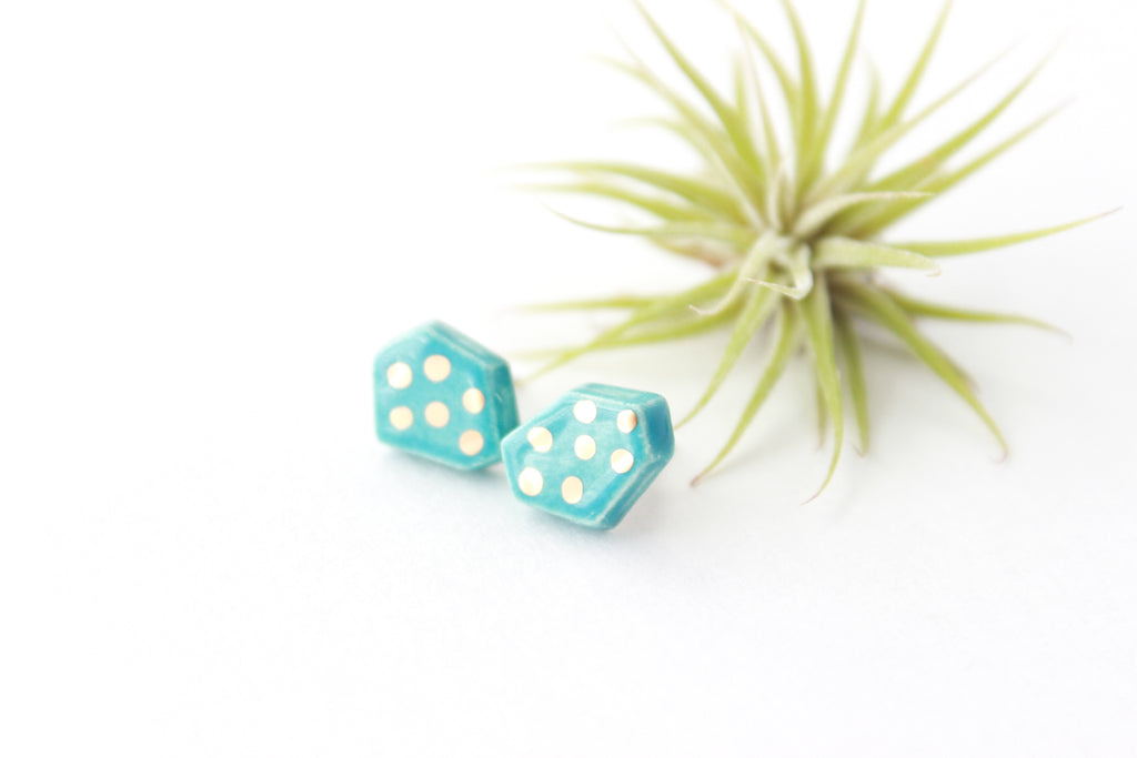 Turquoise and Gold Dot Gem Earrings