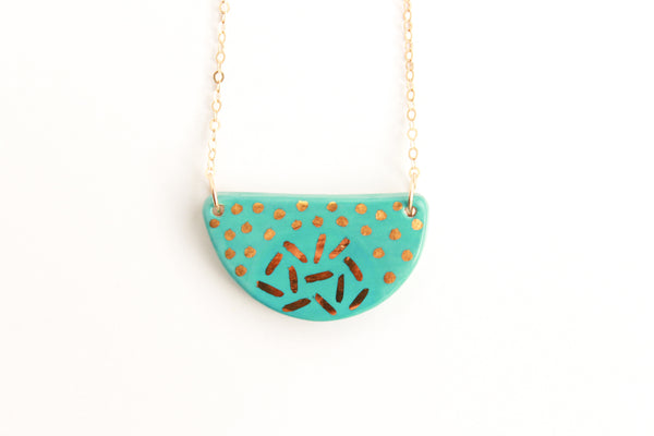 Blue and Gold Patterned Half Circle Necklace