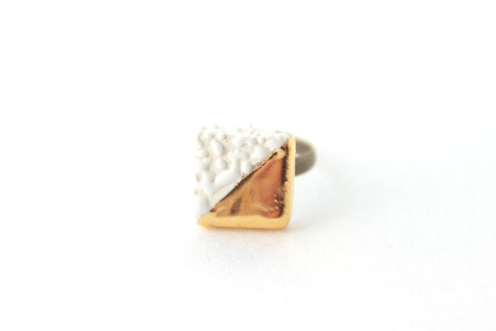 White Pebble Gold Dipped Square Ring