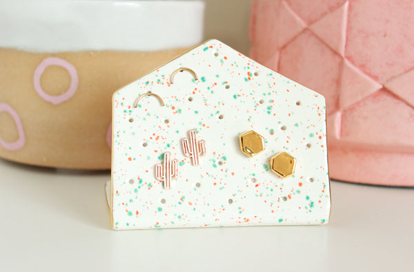 NEW! White Speckle Hexagon Earring Holder