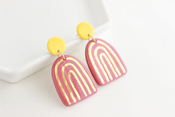Yellow/Mauve Rainbow Stripe Statement Earrings