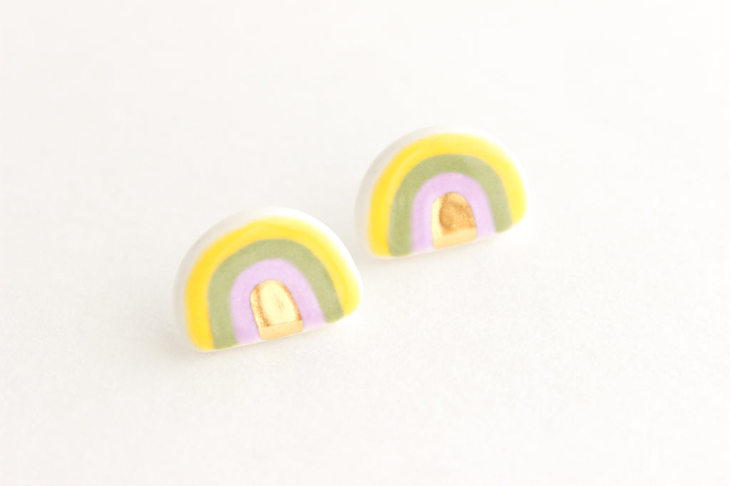 NEW! Yellow, Sage, and Lilac Rainbow Stud Earrings