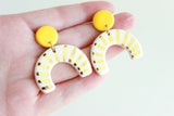 Yellow Sunburst Half Circle Cutout Statement Earrings