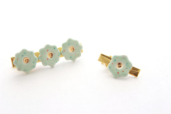 NEW! Mint Speckle Flower Hair Clip