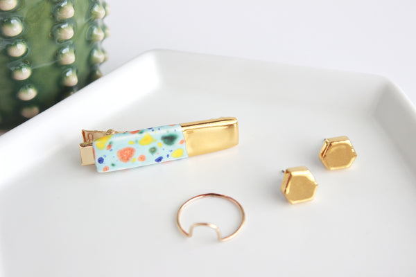 NEW! Blue Confetti Gold Dipped Bar Hair Clip