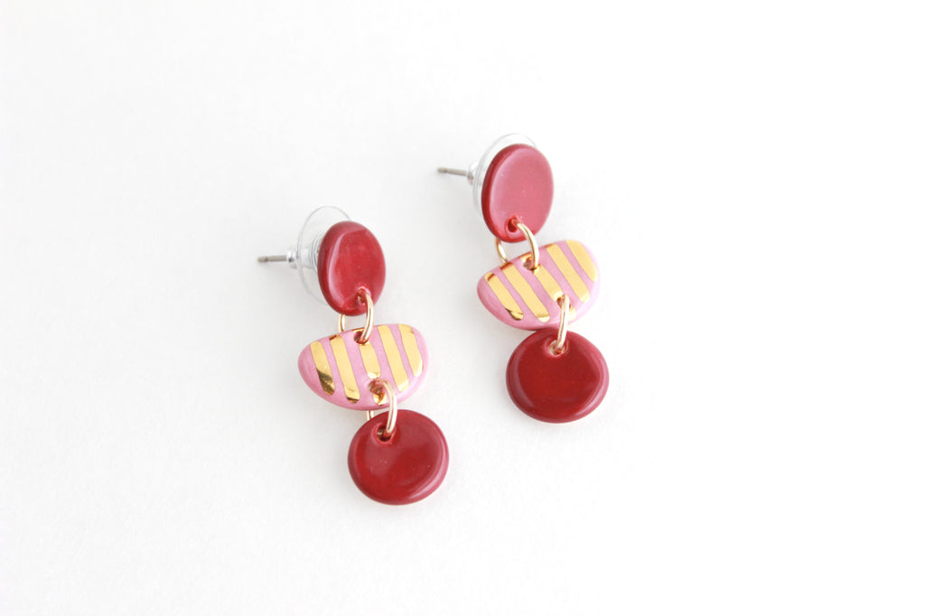 NEW! Striped Half Circle Small Statement Earrings