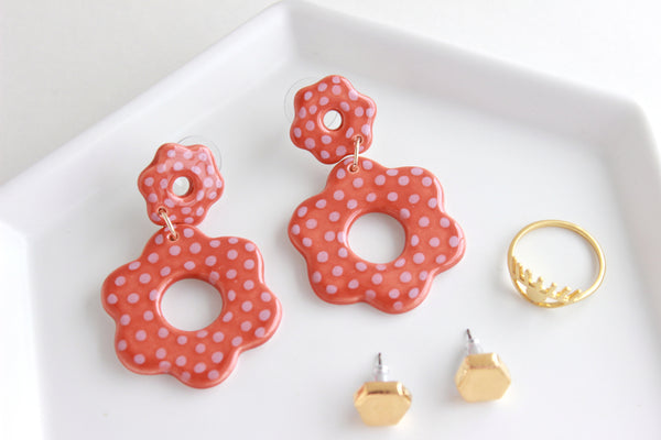 NEW! Colored Dot Cutout Flower Statement Earrings / Flower Collection