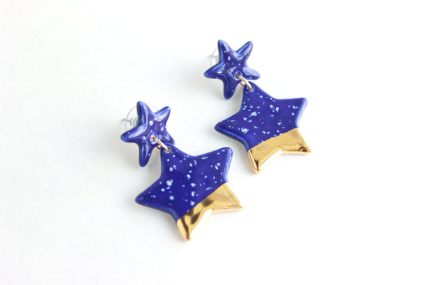 Gold Dipped Double Star Statement Earrings