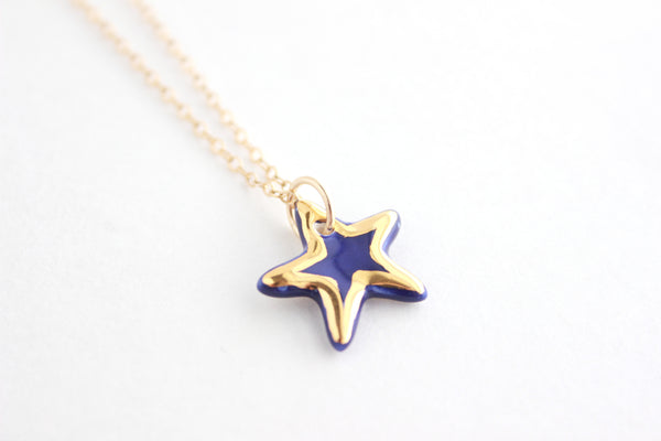 Cobalt and Gold Star Charm Necklace