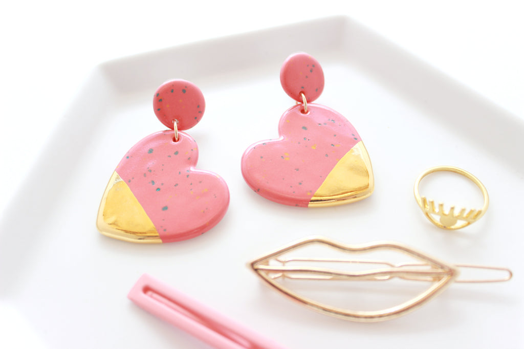 NEW! Coral Sprinkle Gold Dipped Heart Statement Earrings / Valentine Collection