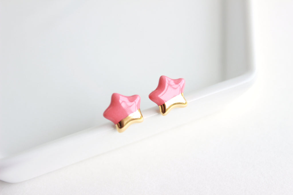 NEW! Mini Gold Dipped Star Stud Earrings