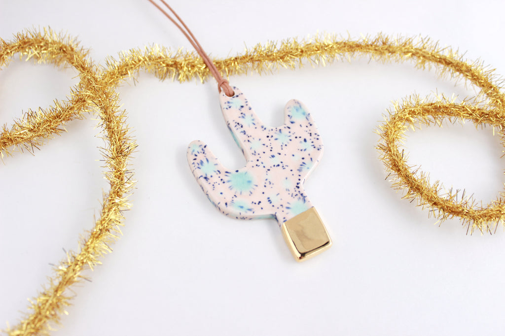 Crystal Gold Dipped Cactus Ornament