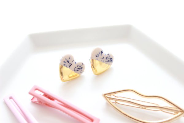 NEW! Blue Speckled Pink Gold Dipped Heart Stud Earrings / Valentine Collection