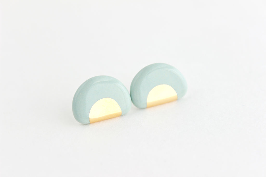 NEW! Gold Half Circle Stud Earrings
