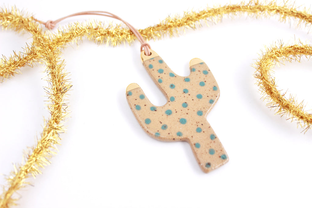 NEW! Gold Tipped Polka Dot Stoneware Cactus Ornament