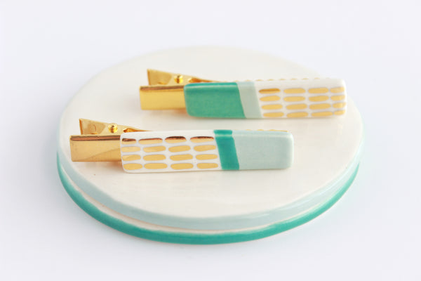 NEW! Dusty Blue/Jade Colorblock Dash Bar Hair Clip Set