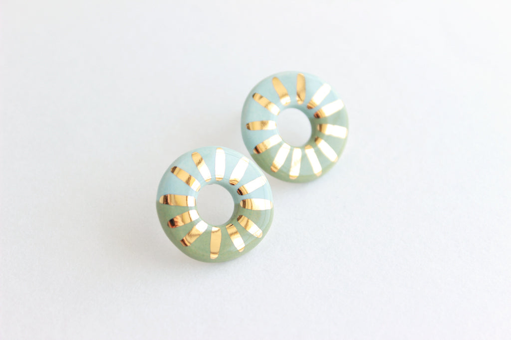 Colorblock Sunburst Stud Earrings