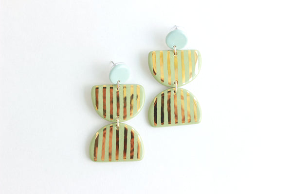 Double Striped Half Circle Statement Earrings