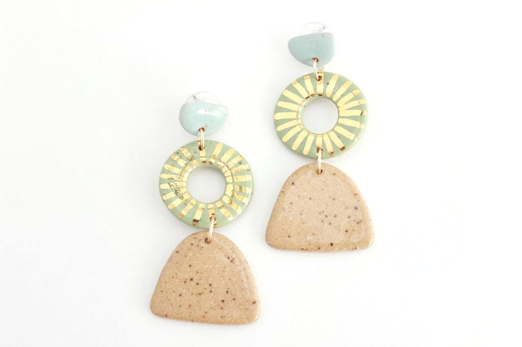 NEW! Triple Sunburst Cutout Stoneware Statement Earrings