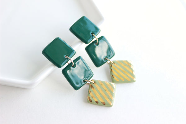 Green Triple Square Diamond Statement Earrings