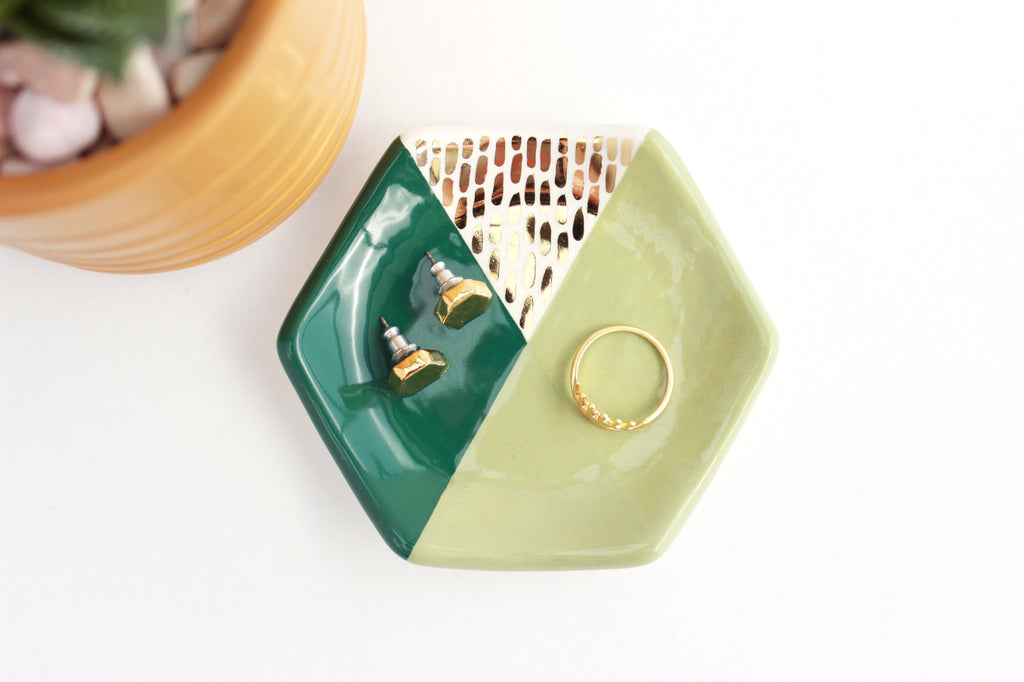 Hexagon Color Block Ring Dish