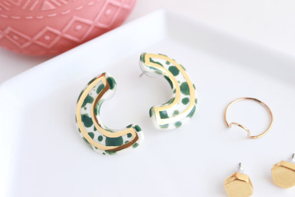 NEW! Emerald Splash Sideways Half Circle Statement Earrings